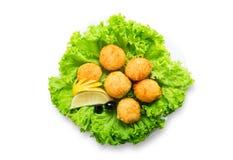 乳酪球开胃菜用橄榄 免版税库存图片