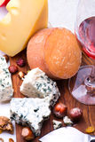 乳酪用干果子和坚果 免版税库存照片