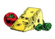 乳酪用蕃茄和蓬蒿 皇族释放例证