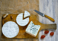 乳酪的不同的类型在一个木切板的 库存图片