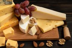 乳酪的各种各样的类型在一张土气桌上的 免版税库存照片