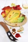 乳酪盛肉盘:坚实乳酪、秋叶和葡萄酒杯 免版税图库摄影