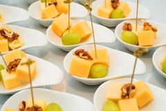 乳酪立方体、葡萄和核桃开胃菜  图库摄影