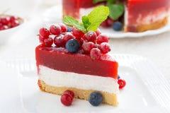 乳酪蛋糕片断与莓果果冻,特写镜头的 图库摄影