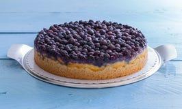 乳酪蛋糕用在土气木头的蓝莓在蓝色 库存照片