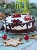 乳酪蛋糕用巧克力和柠檬 免版税库存照片