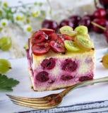 乳酪蛋糕用樱桃莓果和自创酸奶干酪 免版税图库摄影