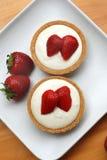 乳酪蛋糕草莓馅饼 免版税库存照片