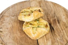 乳酪饺子和火腿 库存图片