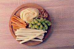 乳酪Suluguni乳酪的各种各样的类型 库存图片