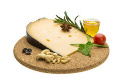 乳酪witn蜂蜜和坚果 免版税库存图片