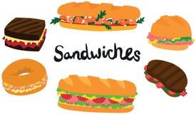 了不起的三明治集合 免版税库存照片