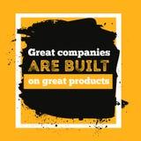 了不起的公司在伟大的产品被建立 免版税库存照片