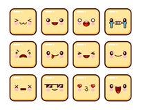 了不起的套黄色情感 网的Emoji 愤怒和同情 笑声,泪花 微笑悲伤惊奇 幸福 免版税库存图片