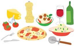 了不起的意大利食物集合 库存例证