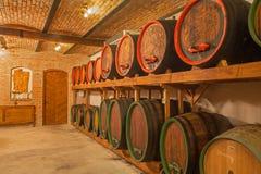 了不起的斯洛伐克生产商-酒桶葡萄酒库内部  免版税库存图片