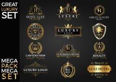 了不起的豪华集合,皇家和典雅的商标模板传染媒介设计 免版税库存图片