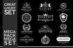 了不起的豪华集合,皇家和典雅的商标模板传染媒介设计 皇族释放例证