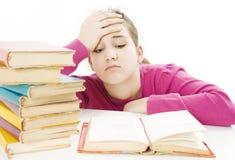 了解女小学生的恼怒的困难 免版税库存照片
