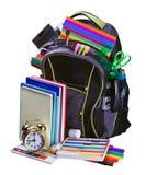 了解学校文教用品的背包 库存照片