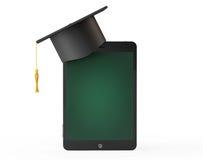了解银的计算机概念e关键膝上型计算机 在片剂PS的毕业学术盖帽作为Bl 免版税库存图片