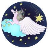 了解马在满天星斗的天空的佩格瑟斯独角兽 库存例证