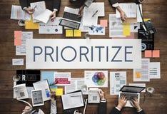 给予优先强调效率重要任务概念 免版税图库摄影