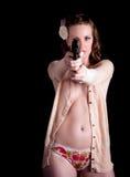 争取枪毛线衣妇女 免版税库存图片