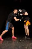 争吵在圆环的两位年轻拳击手 库存照片