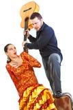 争吵夫妇的佛拉明柯舞曲 免版税库存照片
