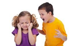 争吵的孩子 免版税图库摄影