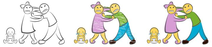 争吵的父母和哭泣的婴孩 手拉的动画片乱画传染媒介例证 恼怒的哀伤的父母人妇女字符争吵 向量例证