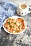 争夺鸡蛋用蕃茄和荷兰芹 免版税库存照片