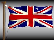 争斗损坏的英国国旗 免版税库存图片