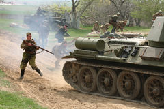 争斗的再制定在Orechov的(1945)在布尔诺,捷克附近 库存图片