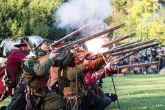 争斗的再制定Pressburg的在布拉索夫, 2017年9月30日的斯洛伐克 免版税库存图片