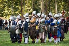 争斗的再制定Pressburg的在布拉索夫, 2017年9月30日的斯洛伐克 库存照片
