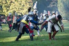 争斗的再制定Pressburg的在布拉索夫, 2017年9月30日的斯洛伐克 免版税库存照片