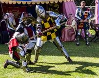 争斗的骑士 中世纪显示 Warkworth,诺森伯兰角 英国 英国 库存照片
