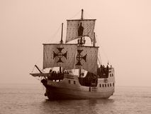 争斗老海运船 库存照片