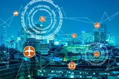 事与线连接的技术概念互联网  免版税库存图片