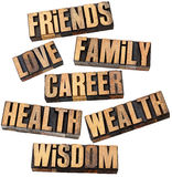 事业、系列、健康和其他值 库存照片