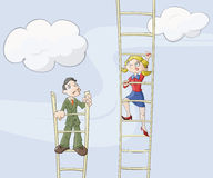 事业女性梯子 免版税库存照片