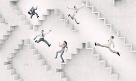 事业梯子 混合画法 图库摄影