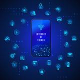 事互联网  IOT概念 全球网络技术互联网控制和监视 系统自动化设备象 向量例证