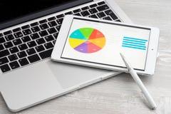 事务分析与片剂个人计算机 免版税库存图片