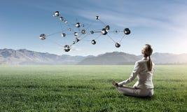 事务和健康生活方式概念 混合画法 库存照片