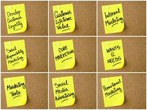 事务和行销照片拼贴画在黄色纸柱子注意写 皇族释放例证