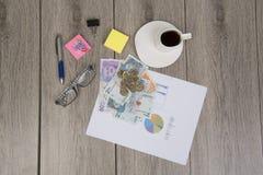 事务和预算计划与哥伦比亚的金钱 图库摄影