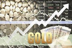 事务成功在金子投资概念上升数据的展示箭头 免版税库存照片